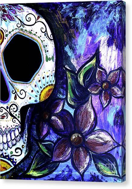 Midnite Canvas Print - Blue Flower Skull by Lovejoy Creations