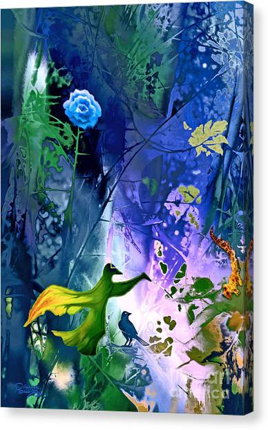 Blue Flower With Guardian Canvas Print