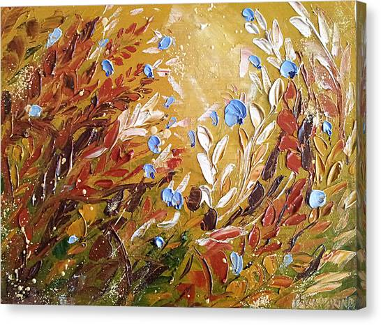Blue Flowers Abstract Painting  Canvas Print