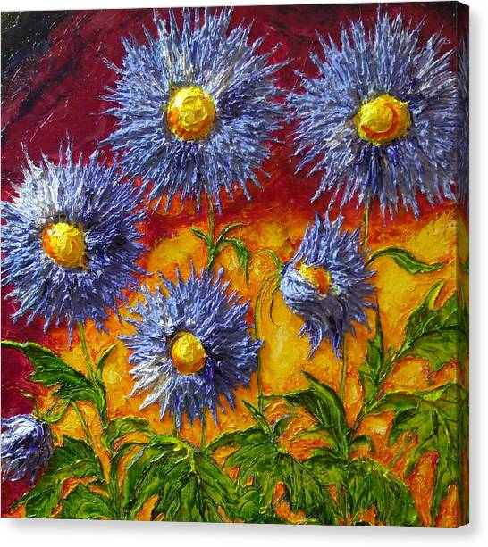 Blue Flowers Canvas Print by Paris Wyatt Llanso