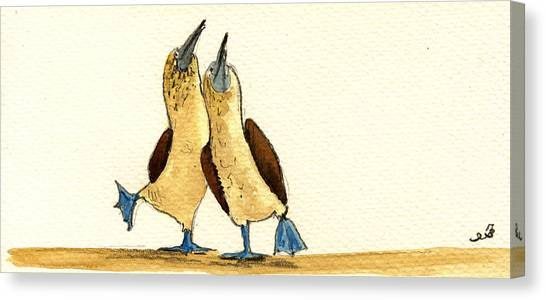 Atlantic Islands Canvas Print - Blue Footed Boobies by Juan  Bosco