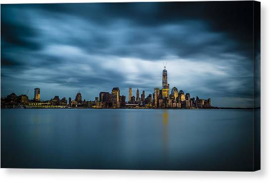 Blue Freedom Tower Canvas Print by Chris Halford