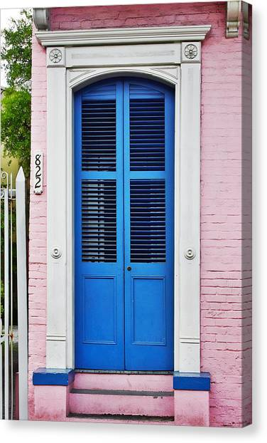Blue Doors Canvas Print - Blue Front Door New Orleans by Christine Till