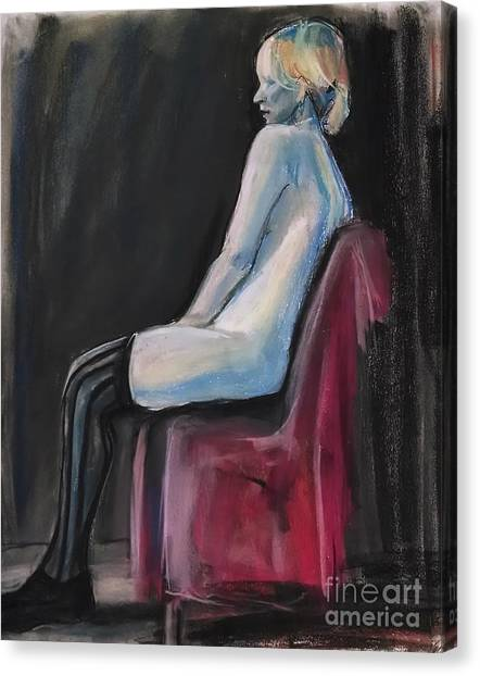Canvas Print featuring the drawing Blue by Gabrielle Wilson-Sealy