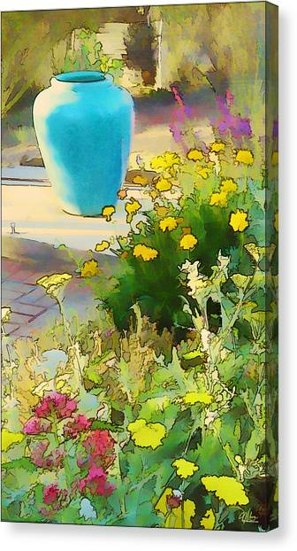 Blue Garden Pot Canvas Print