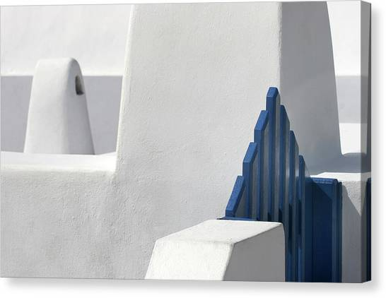 Greek Art Canvas Print - Blue Gate by Hans-wolfgang Hawerkamp