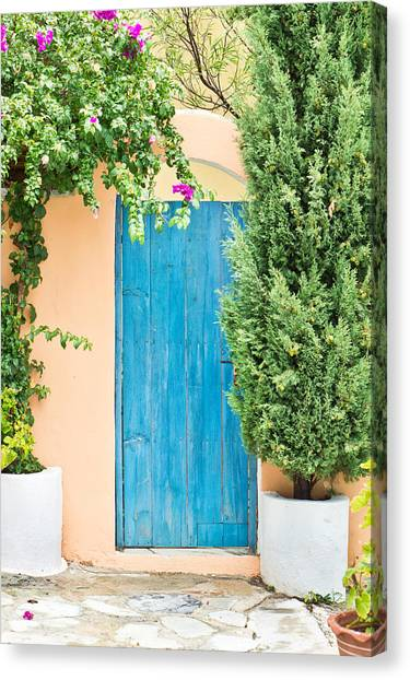 Greece Canvas Print - Blue Gate by Tom Gowanlock