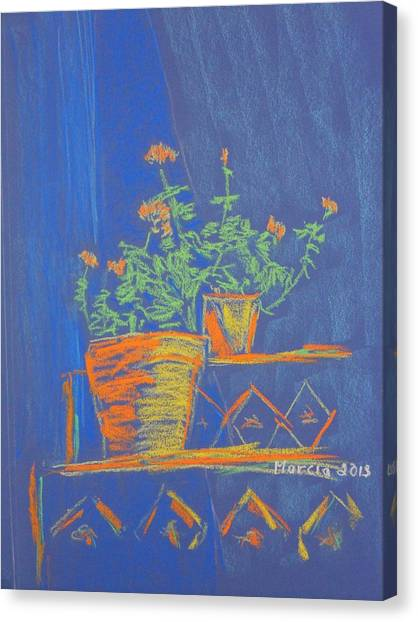 Blue Geranium Canvas Print by Marcia Meade