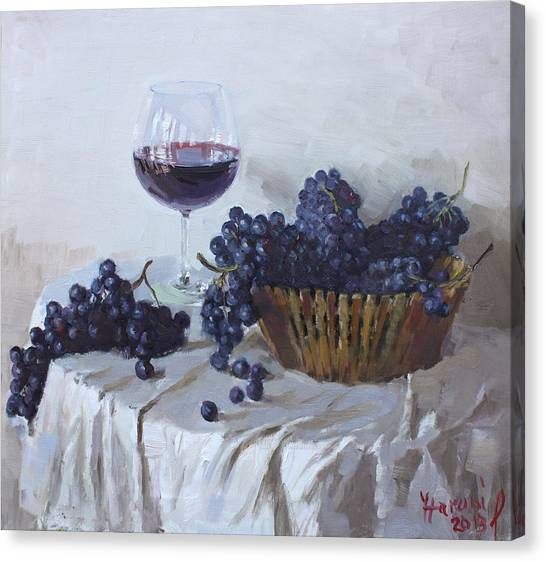 Grapes Canvas Print - Blue Grapes And Wine by Ylli Haruni