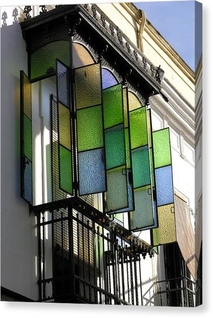 Blue-green-gold Windows In Cordoba Canvas Print by Jacqueline M Lewis