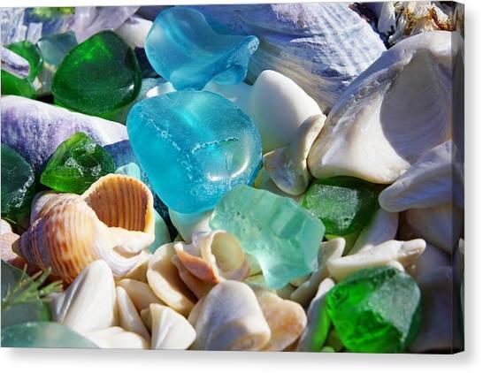Decorative Glass Canvas Print   Blue Green Seaglass Shells Coastal Beach By  Baslee Troutman