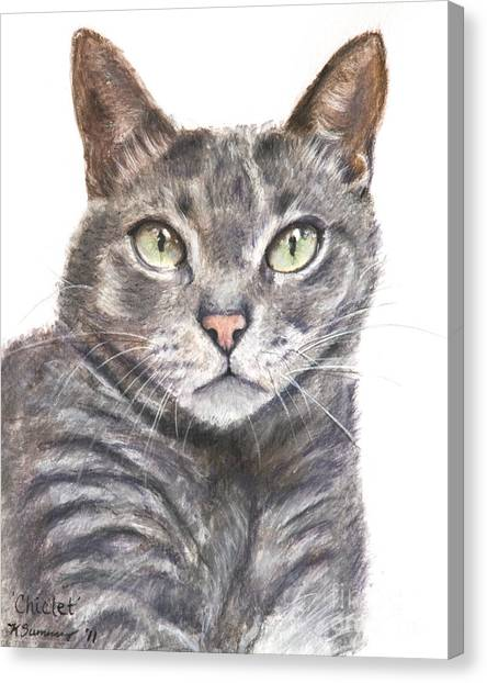 Chartreuxes Canvas Print - Blue Grey Cat With Piercing Green Eyes by Kate Sumners