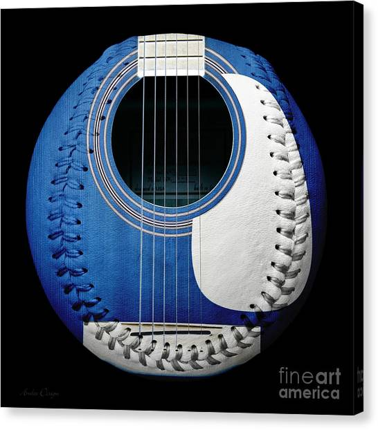 Baseball Canvas Print - Blue Guitar Baseball White Laces Square by Andee Design