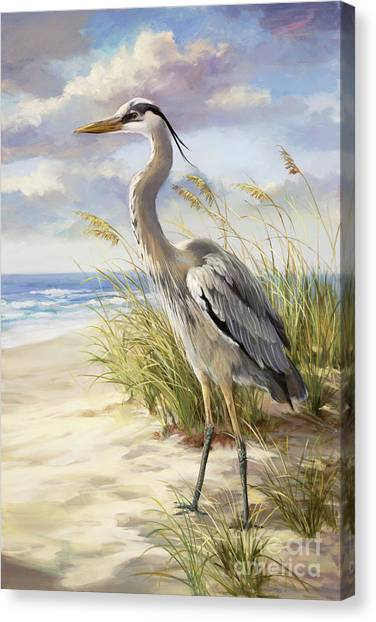 Foul Canvas Print - Blue Heron  by Laurie Hein