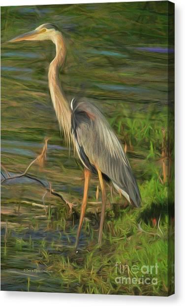 Blue Heron On The Bank Canvas Print