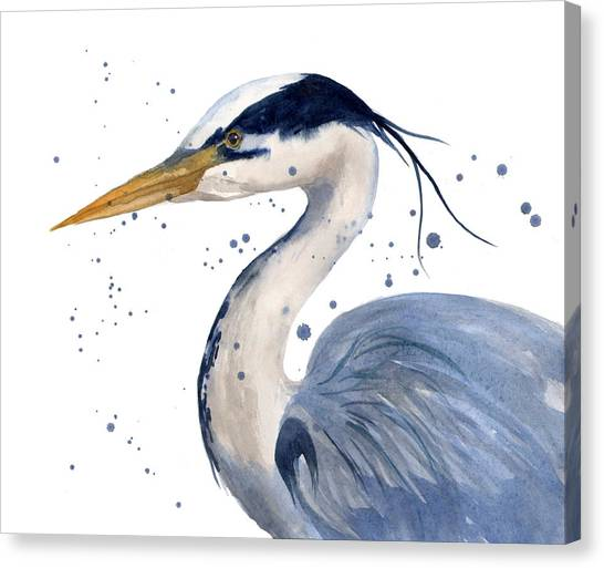 Herons Canvas Print - Blue Heron Painting by Alison Fennell