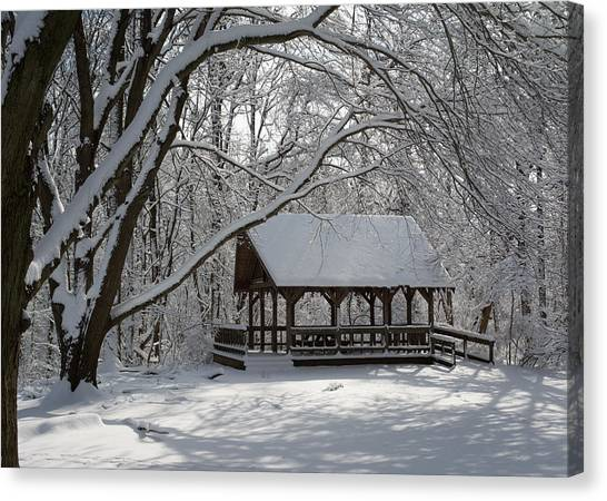 Blue Heron Park In Winter Canvas Print
