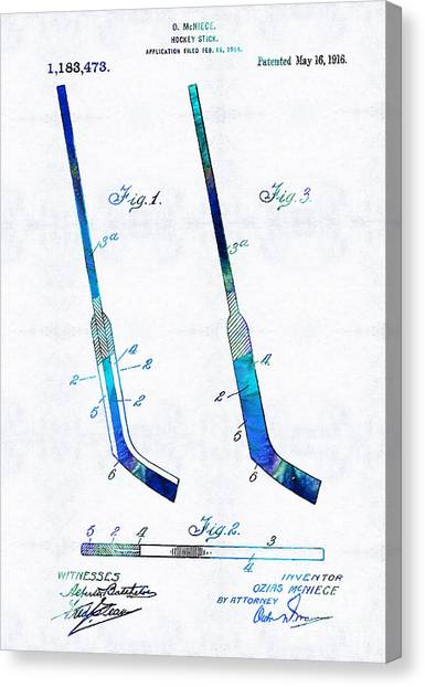 Speed Skating Canvas Print - Blue Hockey Stick Art Patent - Sharon Cummings by Sharon Cummings