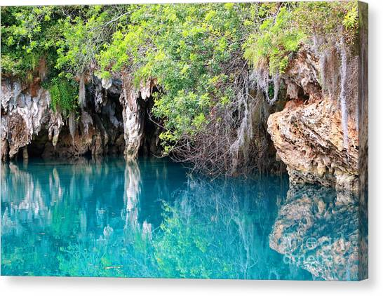 Limestone Caves Canvas Print - Blue Hole by Charline Xia