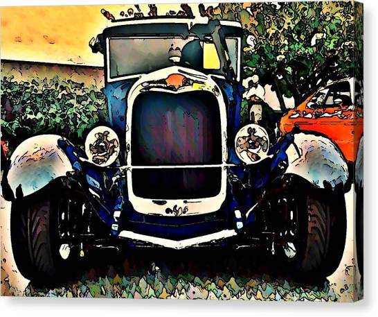 Car Hod Canvas Print - Blue Hot Rod by Stanley  Funk