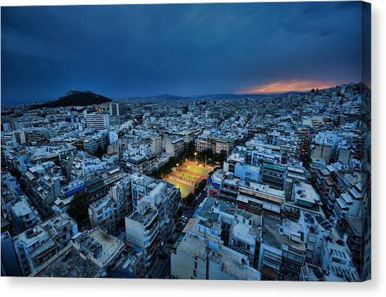 Blue Hour In Athens Canvas Print