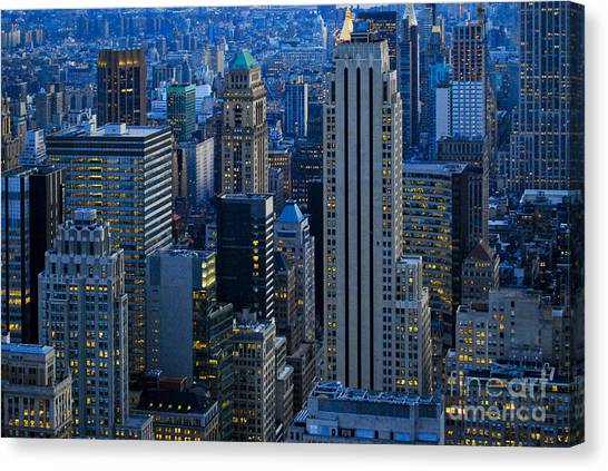 Blue Hour In New York City Usa Canvas Print