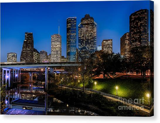 Blue Hour On Buffalo Bayou Canvas Print by Dee Zunker