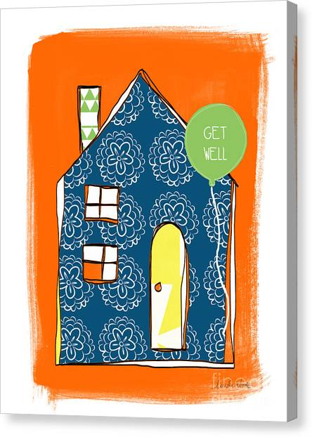 Triangles Canvas Print - Blue House Get Well Card by Linda Woods