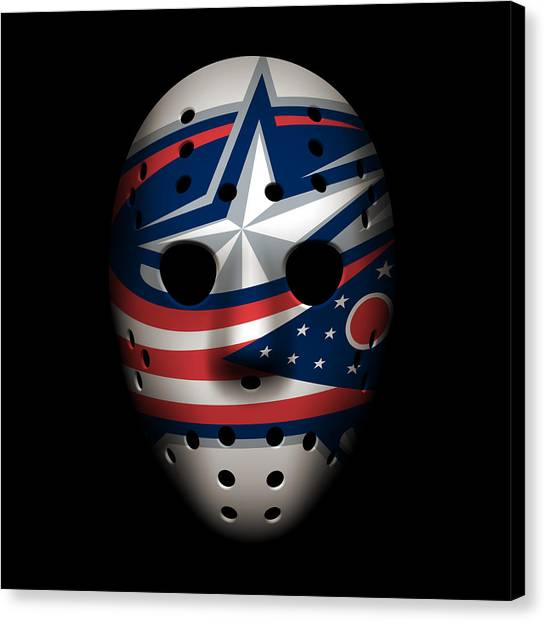 Columbus Blue Jackets Canvas Print - Blue Jackets Goalie Mask by Joe Hamilton