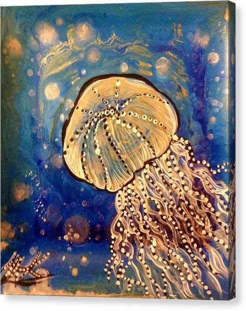 Blue Jellyfish Canvas Print by Michaela Kraemer