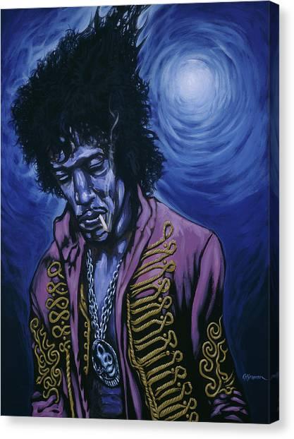 Blue Jimi Canvas Print by Gary Kroman