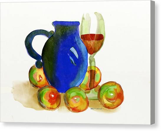 Blue Jug And Apples Canvas Print