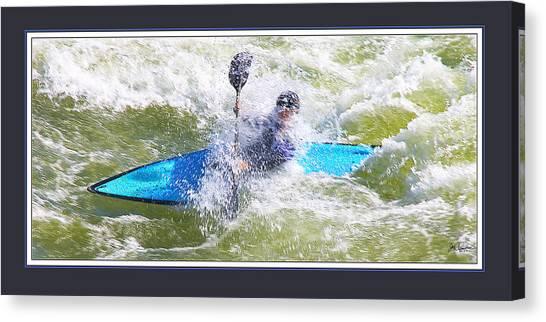Blue Kayak At Great Falls Md Canvas Print