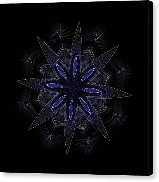Blue Lace Fractal Mandala Canvas Print