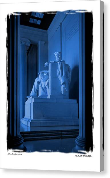 Lincoln Memorial Canvas Print - Blue Lincoln by Mike McGlothlen