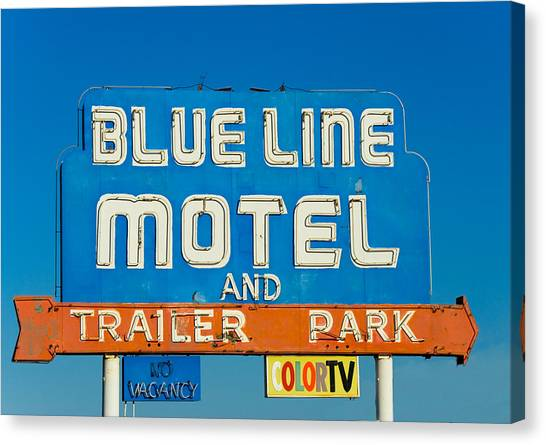 Retro Canvas Print - Blue Line Motel And Trailer Park by Matthew Bamberg