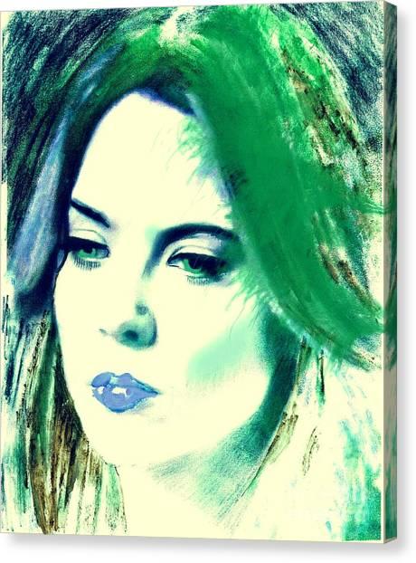 Blue Lips On Green Canvas Print
