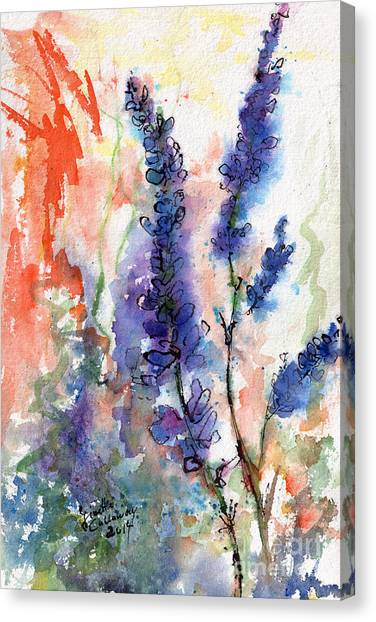 Blue Lupines Watercolor And Ink Canvas Print