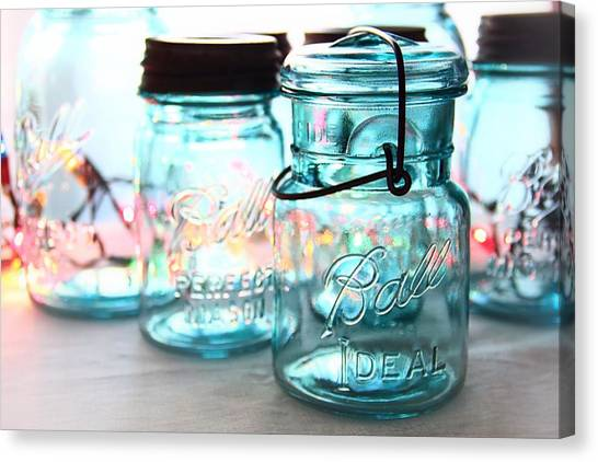 Jar Canvas Print - Blue Mason Jars by Elizabeth Budd