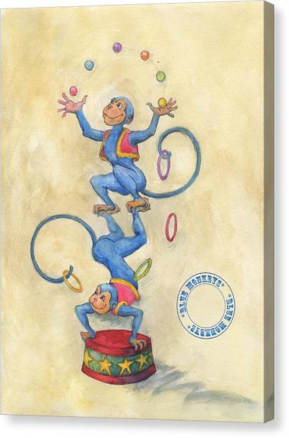 Blue Monkeys Canvas Print
