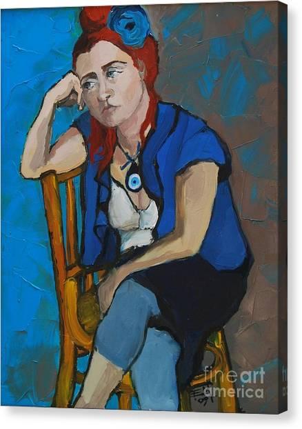 Allah Canvas Print - Blue Mood by Mona Edulesco
