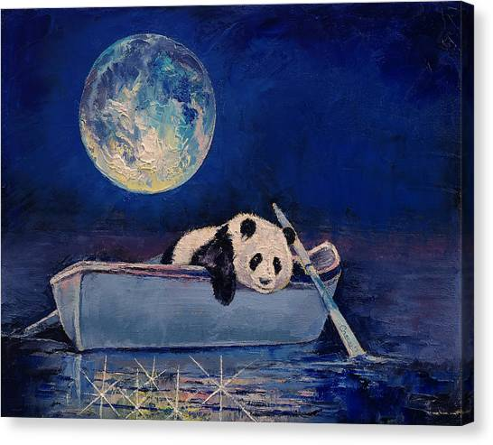 Panda Canvas Print - Blue Moon by Michael Creese