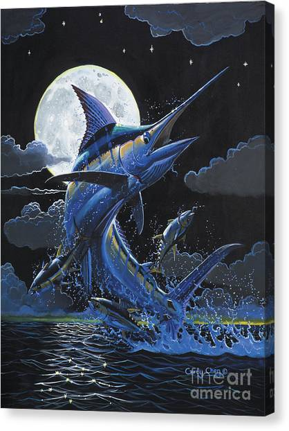 Spearfishing Canvas Print - Blue Moon Off0069 by Carey Chen