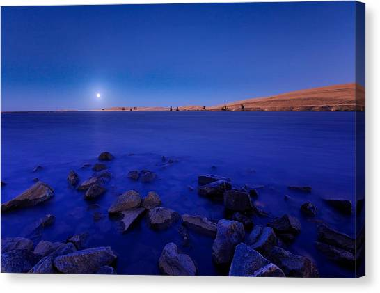 Blue Moon On The Rocks Canvas Print