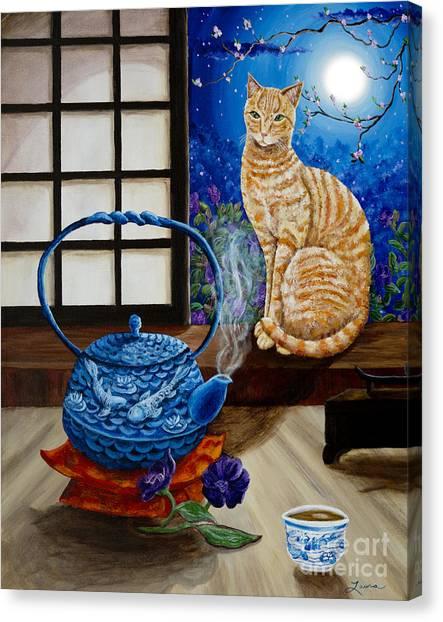 Tea Pot Canvas Print - Blue Moon Tea by Laura Iverson