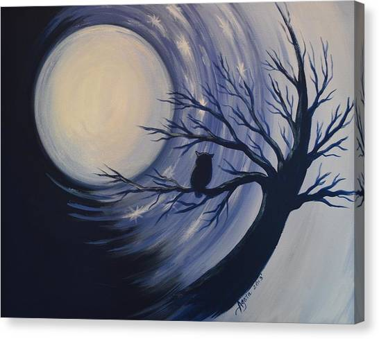 Blue Moon Vortex With Owl Canvas Print