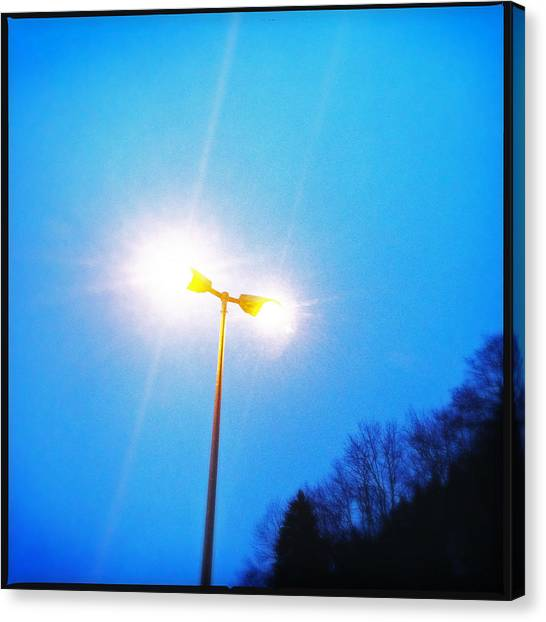 Bright Canvas Print - Blue Morning - Bright Beam Of Light by Matthias Hauser