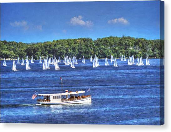 Blue Morning Cruise - Lake Geneva Wisconsin Canvas Print
