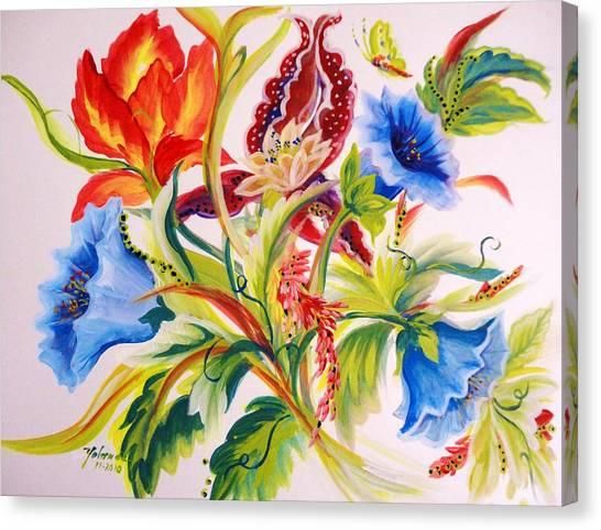 Blue Morning Glories Canvas Print