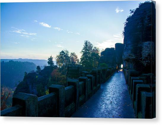 Blue Morning On The Bastei Canvas Print